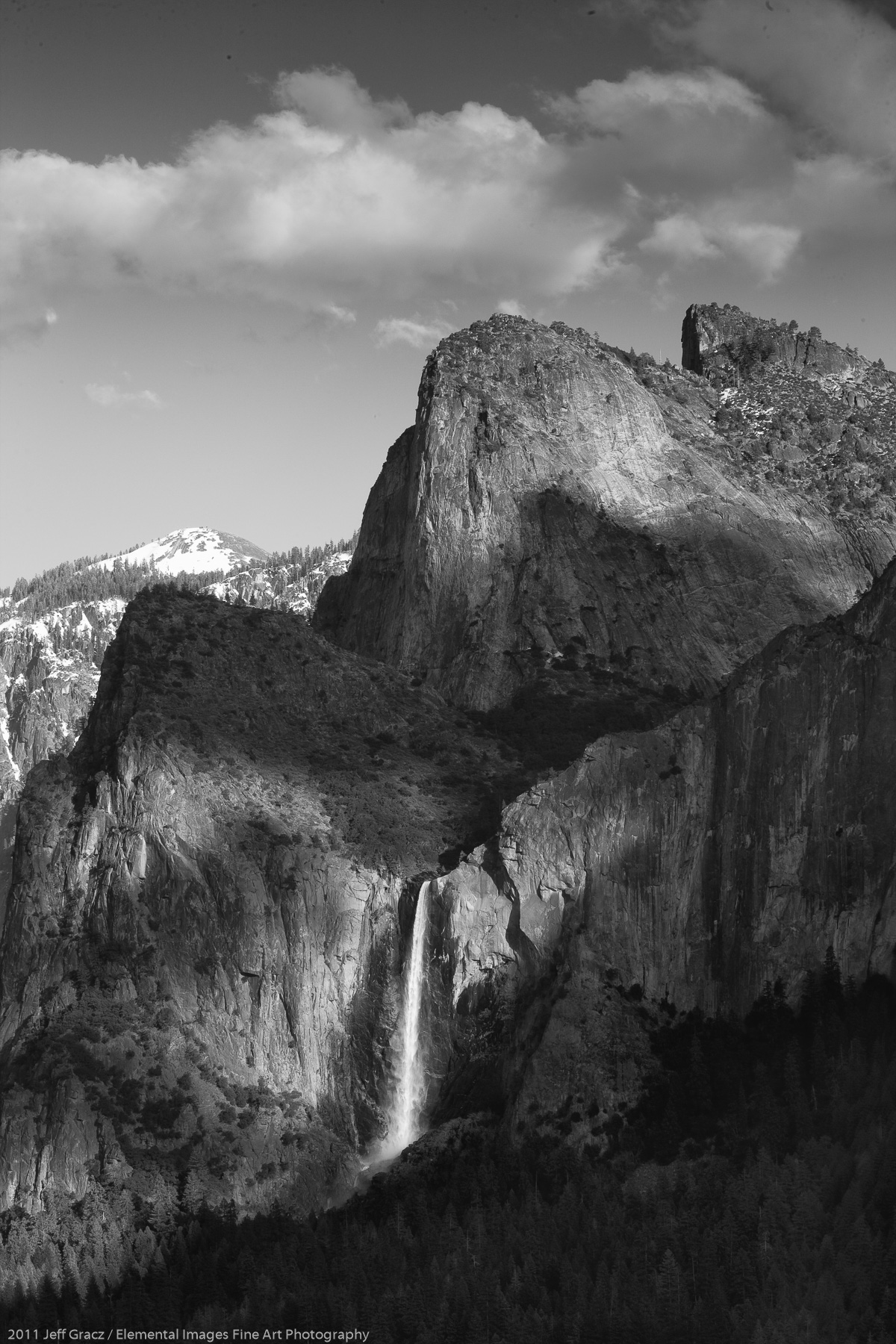 Bridalveil Falls with Cathedral Rocks | Yosemite National Park | CA | USA - © 2011 Jeff Gracz / Elemental Images Fine Art Photography - All Rights Reserved Worldwide