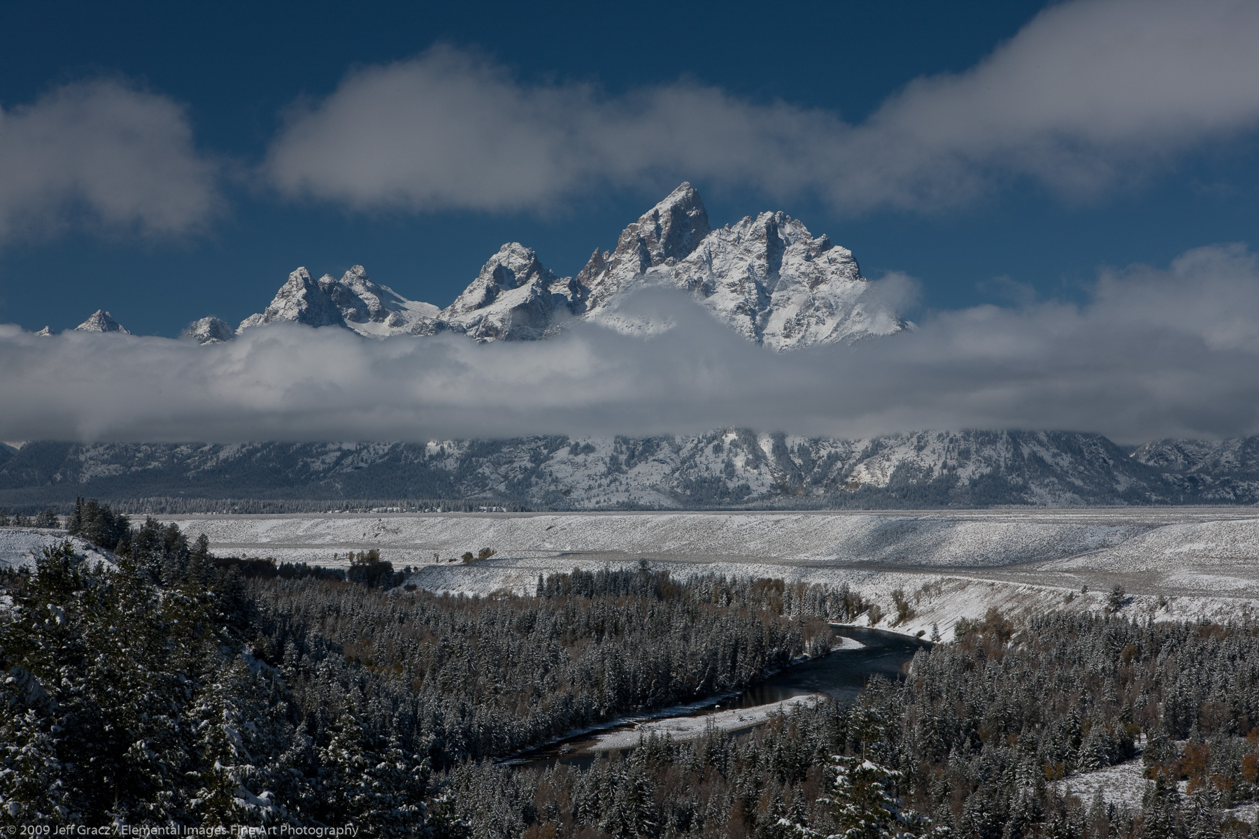 Grand Tetons in early winter | Grand Teton National Park | WY | USA - © © 2009 Jeff Gracz / Elemental Images Fine Art Photography - All Rights Reserved Worldwide