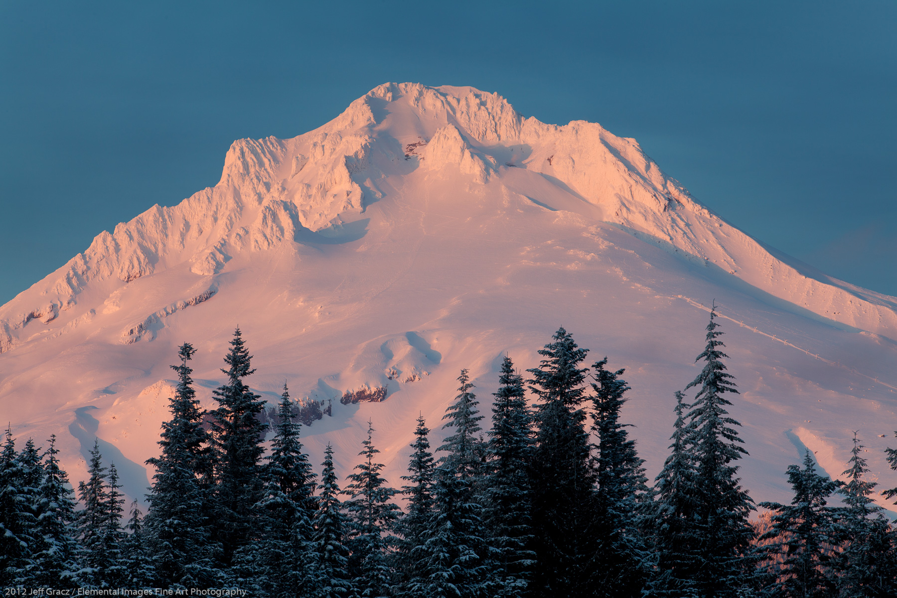Alpenglow on Mt Hood | Mt Hood National Forest | OR | USA - © 2012 Jeff Gracz / Elemental Images Fine Art Photography - All Rights Reserved Worldwide
