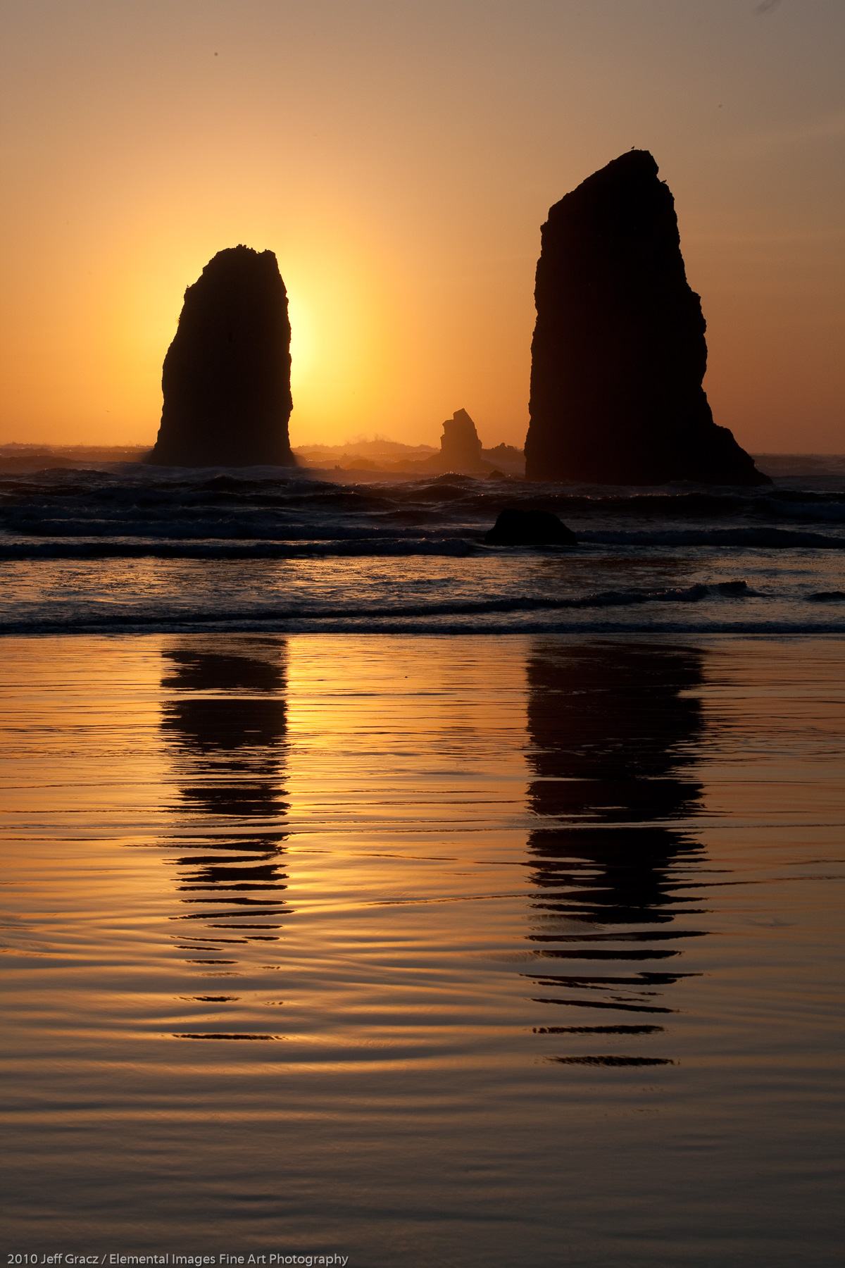 The Needles at sunset | Cannon Beach | OR |  - © 2010 Jeff Gracz / Elemental Images Fine Art Photography - All Rights Reserved Worldwide