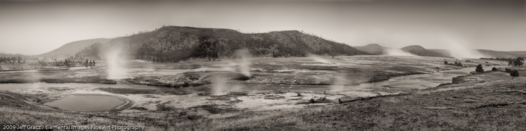 Midway Geyser Basin panoramic II |  | WY | USA - © 2009 Jeff Gracz / Elemental Images Fine Art Photography - All Rights Reserved Worldwide